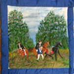 Quilt block showing the King being rescued by Fairbairn