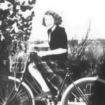 Gertie, as a teen, on a bike