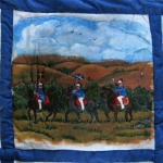 Quilt block with crusaders on their horses