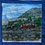Quilt block depicting the family orchestra's van near the Frank slide.