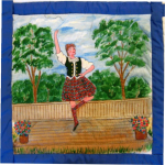 Quilt block of a woman doing the highland fling