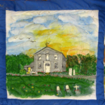 Quilt block with an old Methodist church