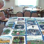Mom working on the Scottish quilt