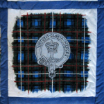 Quilt block with the Robertson crest and tartan
