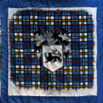 Quilt block with the Thompson crest and tartan