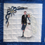 Quilt block of a bride and groom